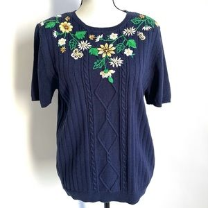 Alfred Dunner Embroidered Flowers Sweaters